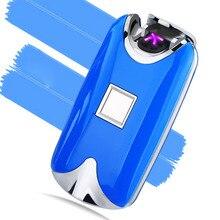 จัดส่งฟรีแฟชั่นใหม่USBโลหะFlamelessลายนิ้วมือแบบชาร์จลมชีพจรไฟฟ้าคู่Arcไฟแช็ก