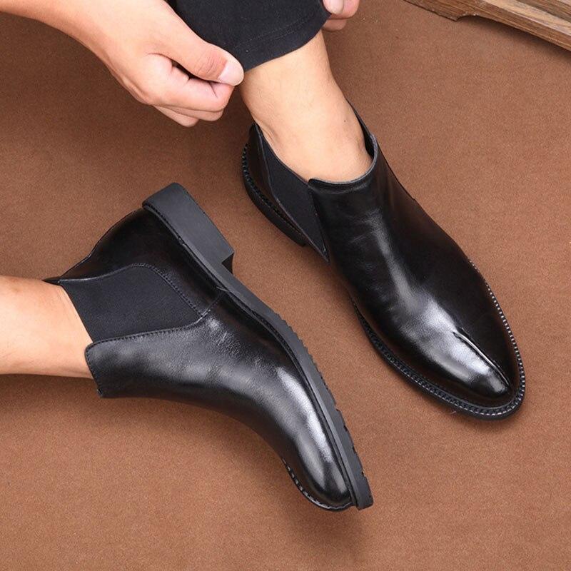 Genuino Negro Piel Todo Vaca Cremallera Cuero Vestido fósforo High top Algodón De Chelsea Montar Del Velvet black Botas Zapatos Para Hombre xn67Fq0Ufw
