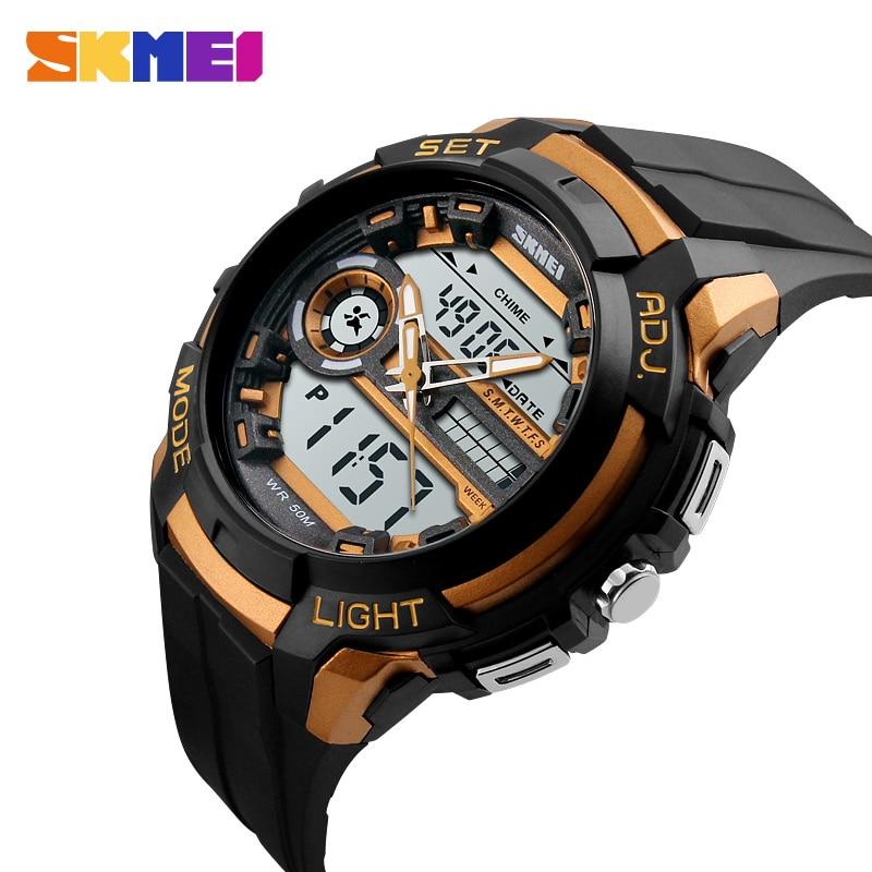 SKMEI Men Sports Watches Outdoor Digital Quartz Dual Wristwatches Chronograph Alarm 50M Waterproof Relogio Masculino XFCS