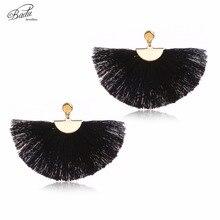 Badu White Fringe Earring Ethnic Tassel Light Weight Fan Shape Women Dangle Earring Elegant Jewelry Statement Daily Fashion