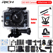 RICH Action Camera 4K HD WIFI 1080P 170 degree camcorder waterproof 30M Sport camera EXTra Chest Strap+Head Strap+Monopod