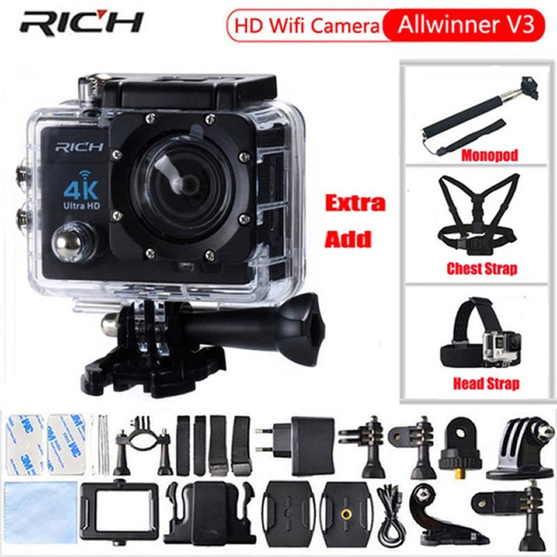 リッチアクションカメラ4 k hd wifi 1080 p 170度ビデオカメラ防水30メートルスポーツカメラエクストラ胸部ストラップ+ヘッドストラップ+一脚