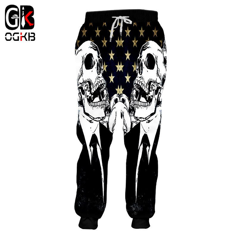 OGKB New Fashion Women/men's Cool Print Skull 3d Sweatpants American Flag Sweat Pants Unisex Couple Long Pants Pantalon Hombre