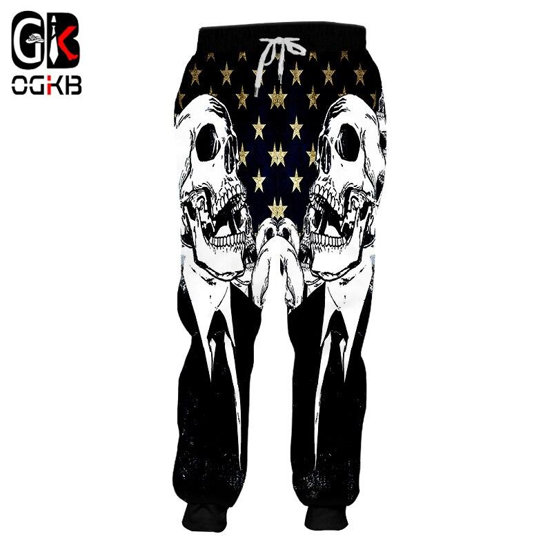 OGKB New Fashion Women/men's Cool Print Skull 3d Sweatpants American Flag Sweat Pants Unisex Couple Long Pants Pantalon Hombre