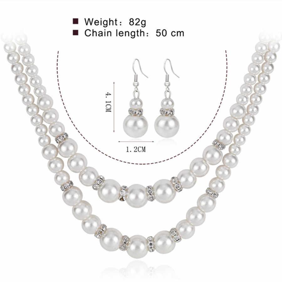 Conjuntos de joyas de perlas simuladas Vintage para mujeres fiesta nupcial cristal doble capa collar pendientes conjunto joyería africana