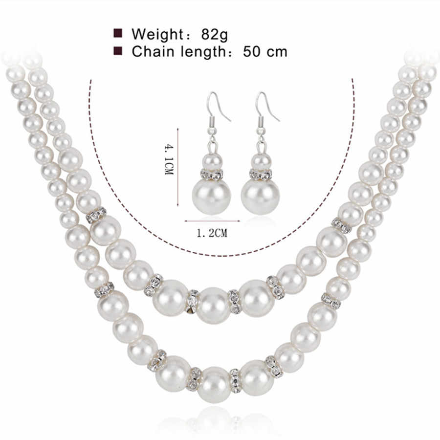 Vintage Simulated Pearl Jewelry Sets For Women Party Bridal Crystal Double Layer Necklace Earrings Set African Jewelry  Set