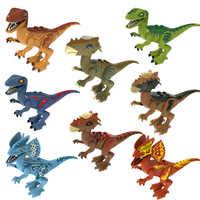 Figura de dinosaurio de la película de Jurassic World, Velociraptor, Pteranodon, Dilophosaurus, Juguetes de bloques de construcción para niños, venta única