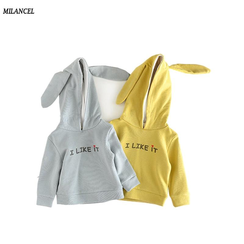 Milancel 2017 Baby Clothes Autumn Girls Boys Hoodies Cute Kids Outerwear Boys Sweatshirts Rabbit Ear Boy Clothing Cotton Hoodies