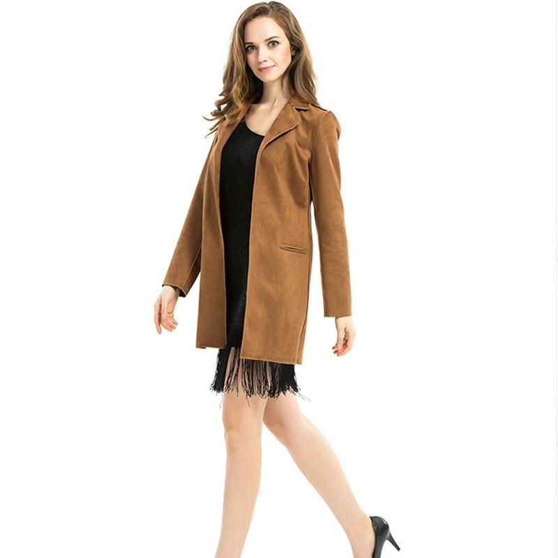 Elegant Bodycon Women Suit Winter Fall Tassel Long Coat   Suede   Fabric Yellow Suit