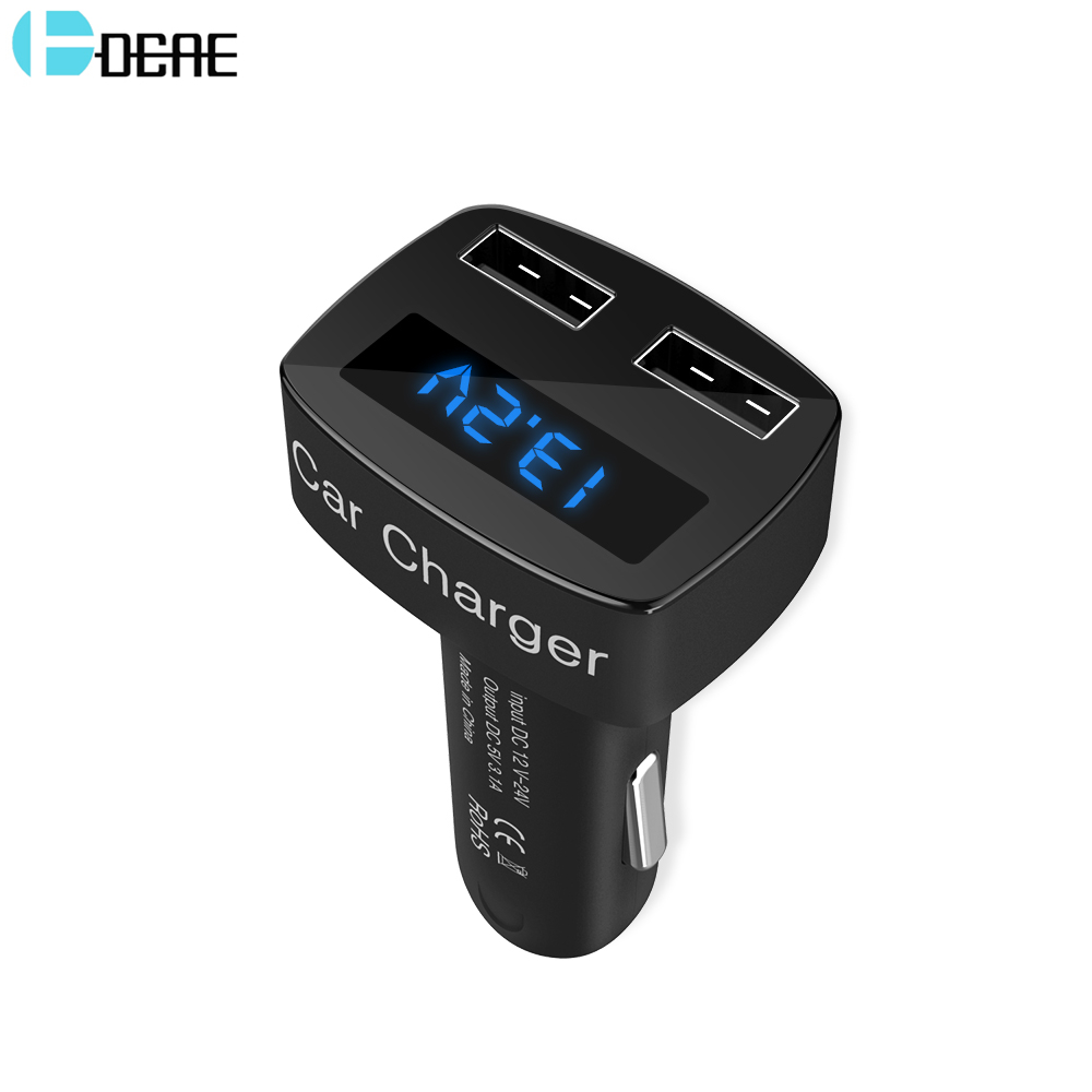 DCAE Dual USB 3.1A Car Charger For Mobile Phone Adapter Digital LED Display Fast Car Phone Charger For iPhone X Samung S9 Xiaomi