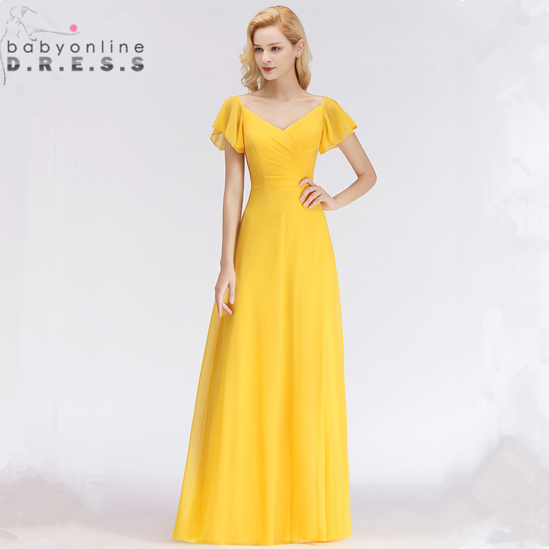 New Yellow Candy Color Short Sleeve Evening Dress Long 2018 V Neck Simple A Line Evening Gown 34 Colors Custom Made Formal Dress