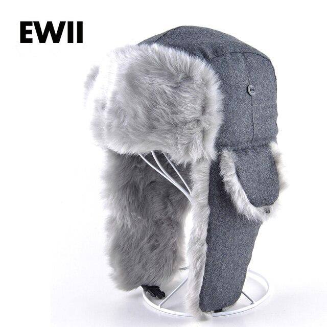 Mens Winter Hats Ear Flaps Bombe Ushanka Russian Hat Warm solid color Men  Cap Cozy Fake fur Lei Feng caps del sombrero Hutting 46abf0622c8