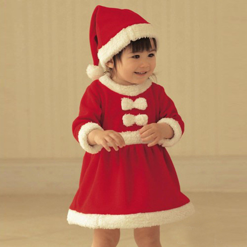 1 2 Years Baby Girls Xmas Santa Long Sleeve Winter Dress -9064