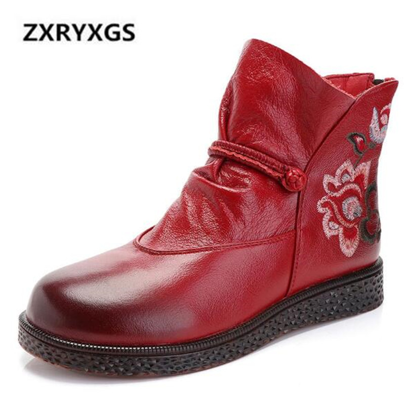 2018 New Autumn and Winter Boots Women Shoes Retro Embroidery Cow Leather Women Boots Comfortable Soft Non-slip Ankle Boots2018 New Autumn and Winter Boots Women Shoes Retro Embroidery Cow Leather Women Boots Comfortable Soft Non-slip Ankle Boots