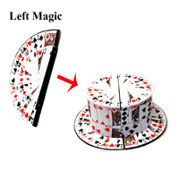 Good Quality Folding Card Fan To Top Hat Magic Tricks Stage Magic Close Up Magic Props Comedy Magic Toys Accessories Illusions