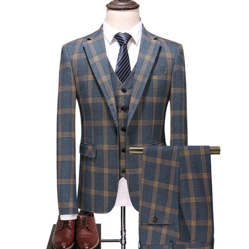 Men's Urban Fashion High-end Custom British Plaid Wedding Banquet Slim Blazers 3 Piece Set (suit + Vest + Pants) M-5XL