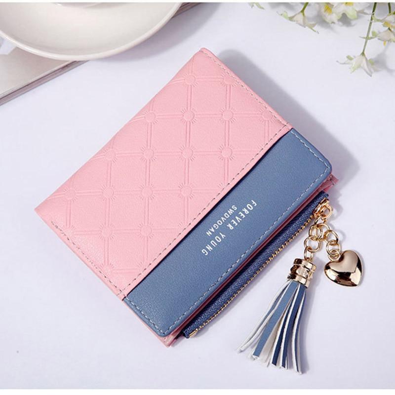 Leather Small Wallet Women Mini Women Wallets Purses Female Short Coin Zipper Purse Holder Tassel Zipper Button Bag (5)