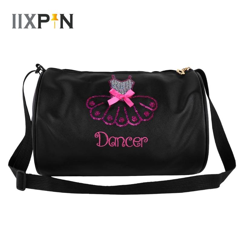 IIXPIN Kids Girls Adorable Ballet Dance Bag Shiny Sequins Embroidered Dress Dancing Duffle Bag Hand Bag Shoulder Bag For Girls
