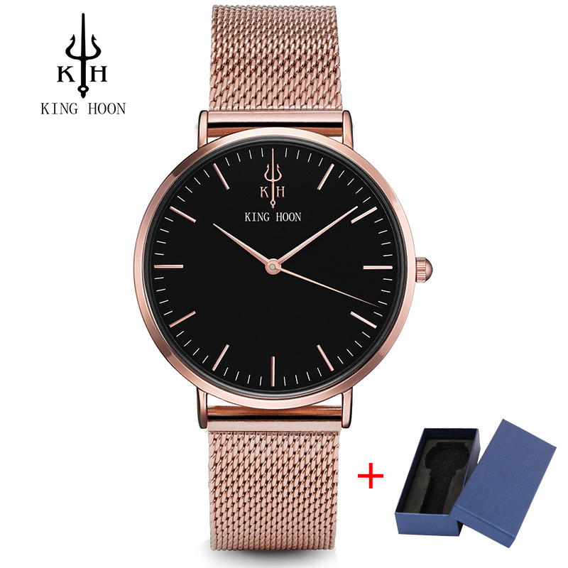 KING HOON Waterproof Rose Gold Watch Women Quartz Watches Ladies Top Brand Luxury Female Wrist Watch Girl Clock Relogio Feminino mjartoria ladies watches clock women quartz watch simple sport bracelet watch student girl female hand wrist watches for women