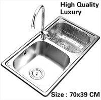 Бесплатная доставка дома высокое качество мытья овощи кухня двойной паз раковина объема Роскошные 304 нержавеющая сталь 700x390 мм