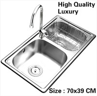 Free shipping Home high quality wash vegetables kitchen double groove sink high volume luxury 304 stainless steel 700x390 MM