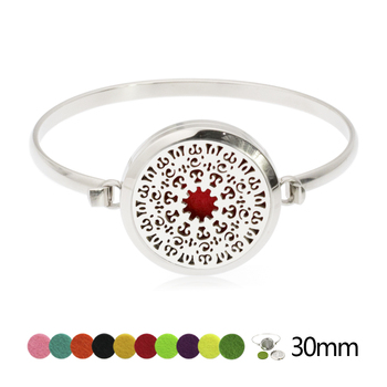 30mm Screw Silver Round Locket 316L Stainless Steel Aromatherapy Essential Oil Diffusing Bangle Bracelet(free felt pads)