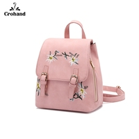 Pu Leather Backpack Women Embroidery School Bag For Teenage Girls Brand Ladies Small Backpacks Gray Bag pack for travel bolsa