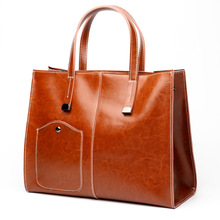 European and American big  2019 new fashionable simple ladys one-shoulder sloping lady oil wax handbag