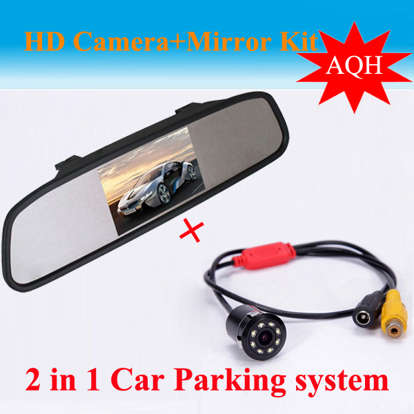 Universal 4.3 Inch TFT LCD Car Mirror Rear View Monitor with  Reverse Car Rearview Backup  Camera LED Night Visoin Camera Kit миксер philips hr 3740 00 viva collection