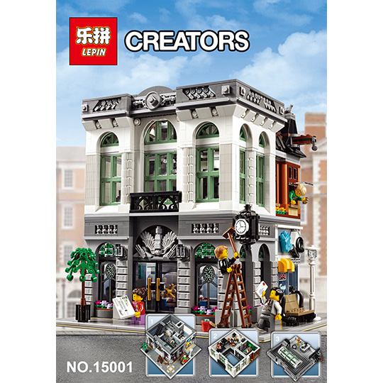2016 New LEPIN 15001 Brick Bank Model Building Kits Blocks Bricks Kits Toy Compatible With 10251 for child gift toys ynynoo bela 10501 233pcs princess friend elves elvendale school of dragons model building kits blocks brick with 41173