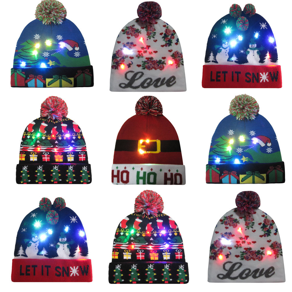 Sensible Novelty Led Light-up Knitted Beanies Hat Boys Ugly Sweater Holiday Xmas Christmas Luminescent Lantern Festive Cap Fiber Cap 12.5 Quality And Quantity Assured