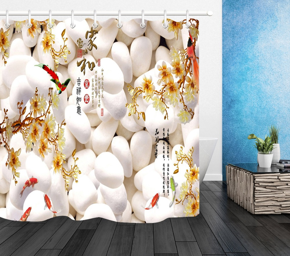 Chinese style Shower Curtain Bathroom Waterproof Polyester Fabric /& 12 Hooks