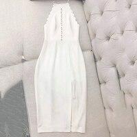 Летнее платье футляр платье Для женщин 2019 сексуальная одежда Вечерние Холтер шеи без рукавов разрез Длинные платья модные тонкие белое пла