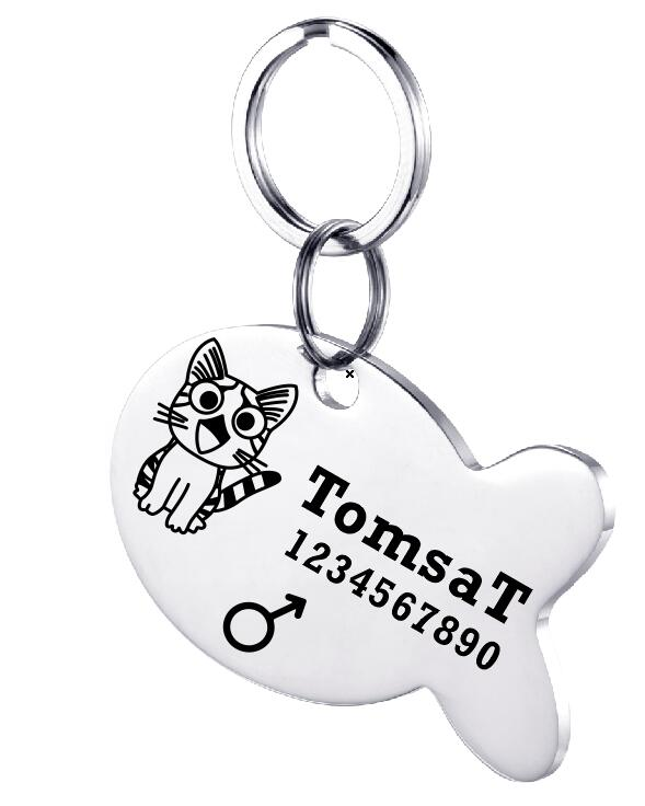 Personalized Engraved Cat Name Tag Anti Lost Stainless Steel Dog Tag