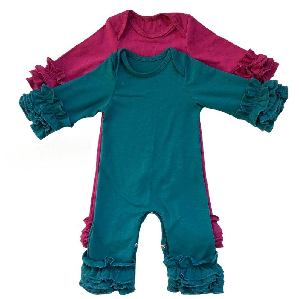 AnpassungsfäHig Beliebte Farben Olive Plum Pfau Senf Großhandel Baby Kleider Kleidung Baumwolle Langarm Triple Icing Rüsche Baby Strampler Bodys & Einteiler
