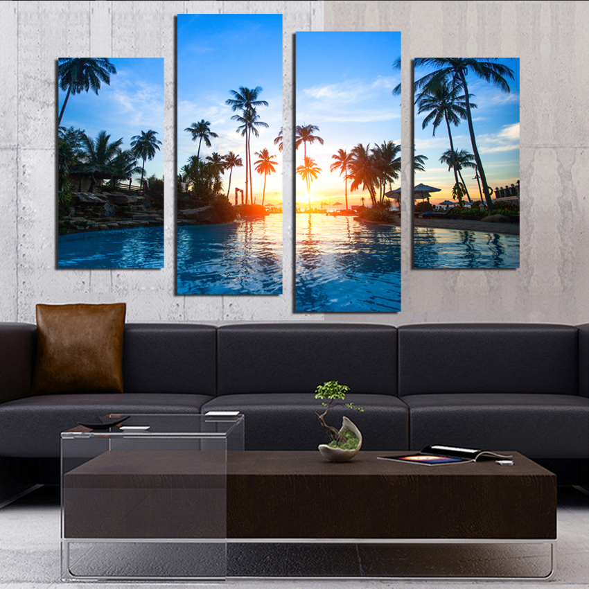 4 Pane Modern Seaside Park The Family Decorates painting Print On The Canvas Wall Art Picture Unframed Artworks F18824 in Painting Calligraphy from Home Garden