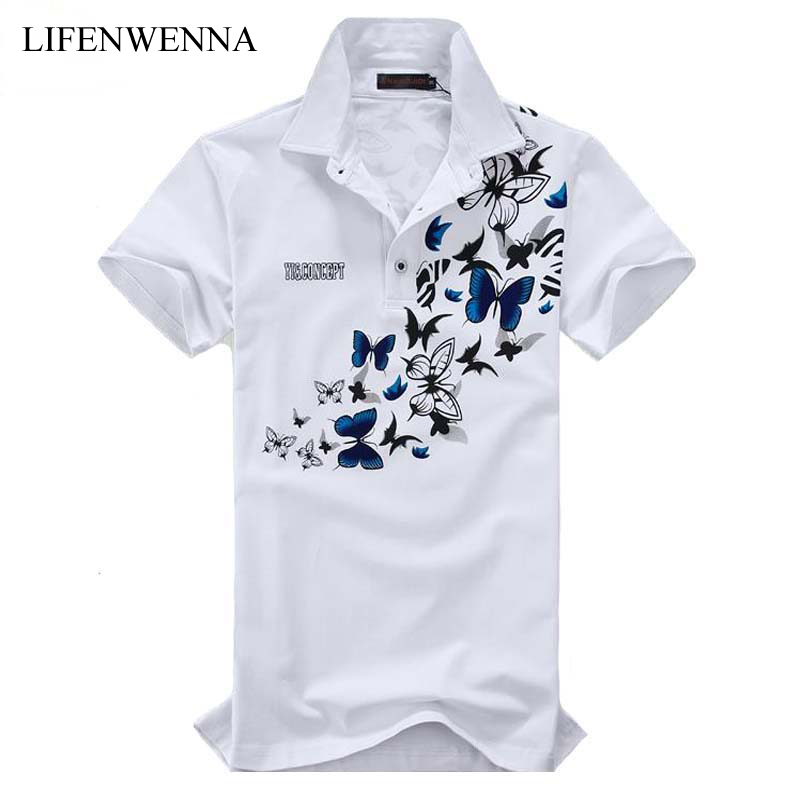 Summer Men's Short Sleeve   Polos   Fashion Butterfly Print Turn Down Collar   Polo   Men High Quality Mens Clothes Trend   Polo   Shirt 6XL