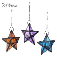 KiWarm Moroccan Style Lanterns Colorful Embossed Glass Star Iron Hanging Tea Light Candle Holders Lanterns Home