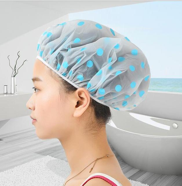 Attractive Bathroom Hair Protect Women Shower Caps Dot Design Head Cover Adults  Waterproof Bathing Cap