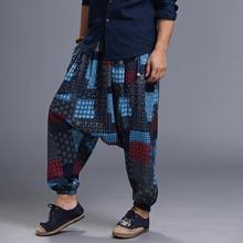 Мужские мешковатые штаны-шаровары в стиле хип-хоп, мужские модные штаны с принтом, эластичная резинка на талии, Свободные Длинные повседневные крутые брюки