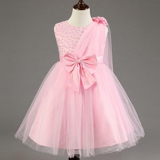 Новый Летний Стиль Девушки Одеваются Маленькие Девочки Вечернее Платье Элегантный Одноместный Косой Плеча Одежда для Новорожденных Детская Одежда