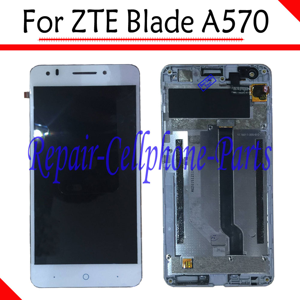 White 100% New Full LCD DIsplay + Touch Screen Digitizer + Frame Cover Assembly For ZTE Blade A570 Free shippingWhite 100% New Full LCD DIsplay + Touch Screen Digitizer + Frame Cover Assembly For ZTE Blade A570 Free shipping