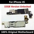 32 gb oficial original motherboard para o iphone 4s 100% desbloqueado mainboard com fichas completas placa lógica 100% qc testado bom trabalho