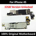 32GB Official Original Motherboard For iPhone 4S 100% Unlocked Mainboard With Full Chips Good Working Logic Board 100% QC Tested