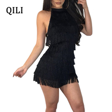 QILI Sexy Backless Wave Tassel Black Dress Summer Women Halter Sleeveless Bandage Dresses Evening Party Club Mini Female