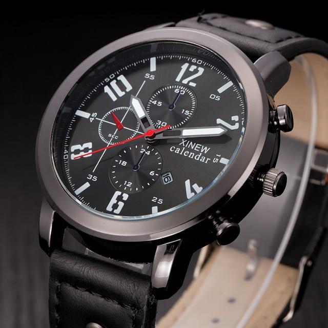 1bc678ba07d 2018 XINEW Casual Mens Relógios De Couro Marca De Luxo Homens Militar  Relógios de Pulso Homem