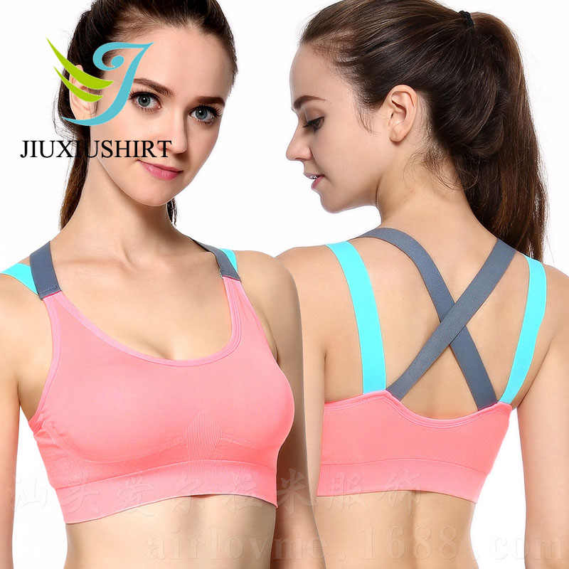 240af56079 Women Sexy Fitness Yoga Push Up Sports Bra Running Seamless Padded  Professional Shockproof Pink Black Plus