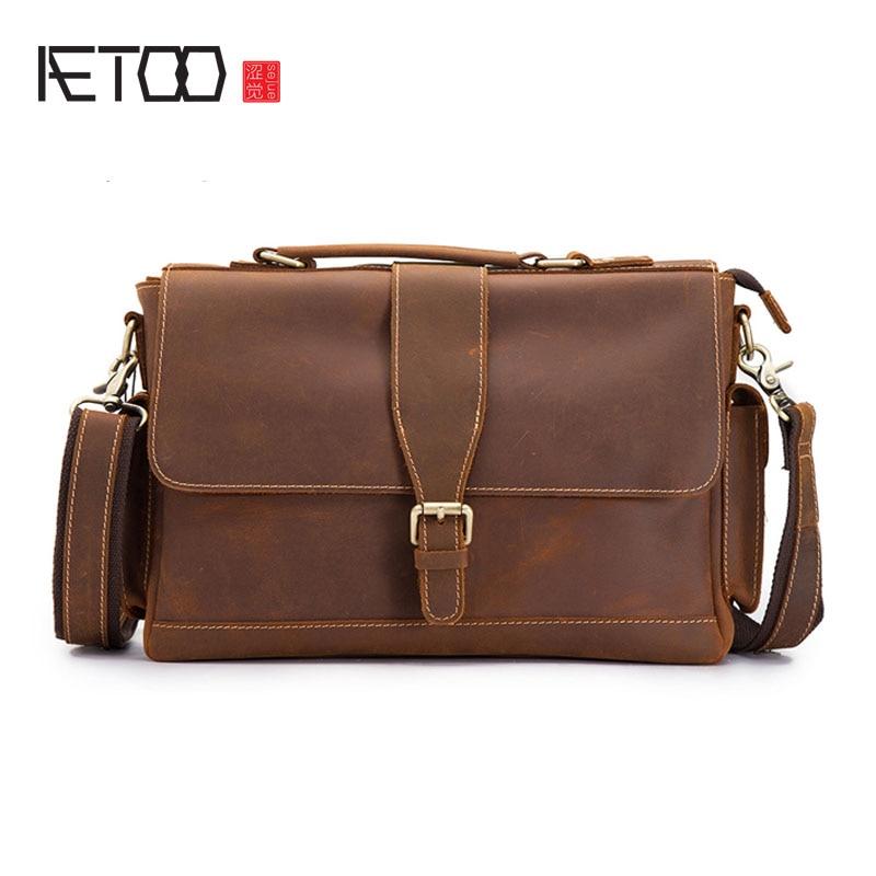AETOO Retro Crazy Horse Leather Men's Leather Laptop Bag Men's Business Tote First Layer Leather Shoulder Bag Messenger Bag : 91lifestyle