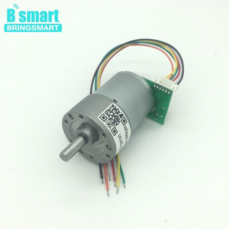 Bringsmart JGB37-3530A 12V DC Photoelectric Encoder Gear Motor 12-1600rpm Mini Optical Encoder 24V Dc Motor With Encoder Reducer faulhaber 12v dc coreless motor with encoder aluminum alloy shell 16002