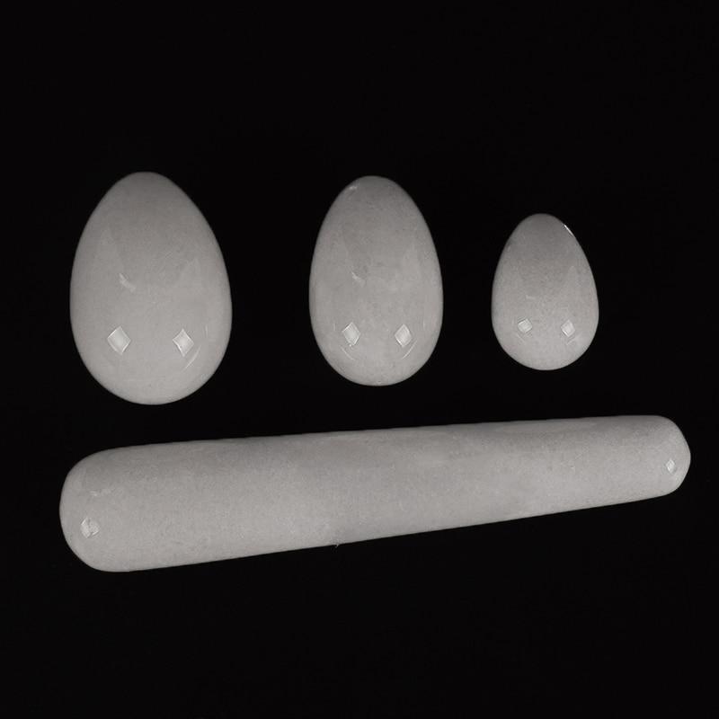 Drill white jade Yoni Egg set Pleasure Stick Vaginal Magic Ball Crystal Massage Wand Ben Wa Balls for Women Kegel Exerciser